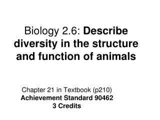 Biology 2.6:  Describe diversity in the structure and function of animals