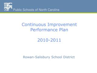 Continuous Improvement Performance Plan 2010-2011