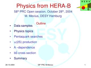 Physics from HERA-B