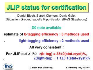 JLIP status for certification