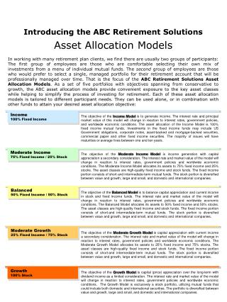 Introducing the ABC Retirement Solutions Asset Allocation Models