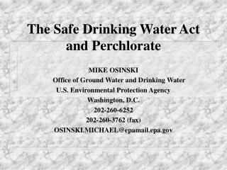 The Safe Drinking Water Act and Perchlorate