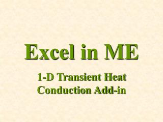 Excel in ME
