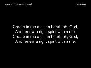 verse one
