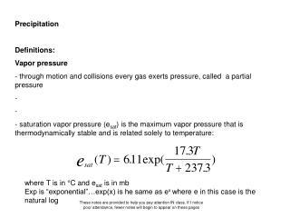 Precipitation Definitions: Vapor pressure