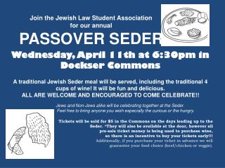 Wednesday, April 11th at 6:30pm in  Dockser Commons