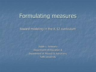 Formulating measures