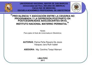 UNIVERSIDAD NACIONAL MAYOR DE SAN MARCOS (Universidad del Perú, DECANA DE AMÉRICA)