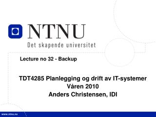 Lecture no 32 - Backup