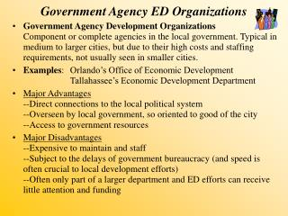 Government Agency ED Organizations