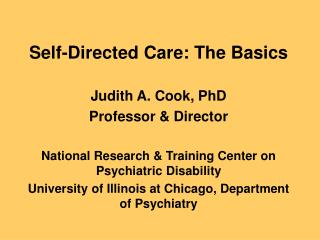 Self-Directed Care: The Basics