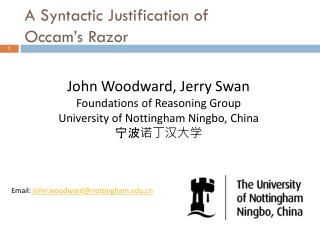 A Syntactic Justification of Occam�s Razor
