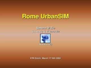 Simone Di Zio University G. d'Annunzio Pescara, Italy