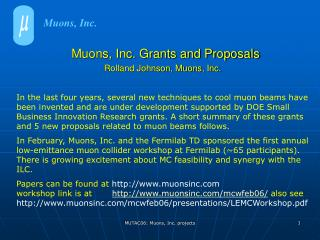 Muons, Inc. Grants and Proposals  Rolland Johnson, Muons, Inc.