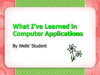 What I've Learned in Computer Applications