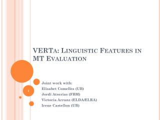 VERTa : Linguistic Features in  MT Evaluation