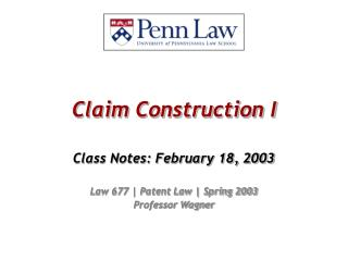 Claim Construction I