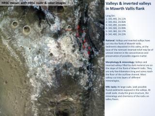 Valleys & inverted valleys in Mawrth Vallis flank Long/lat : 1- 341.44E, 24.11N 2- 341.45E, 24.06N