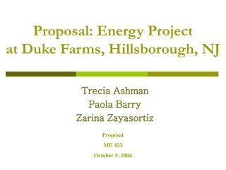 Proposal: Energy Project at Duke Farms, Hillsborough, NJ