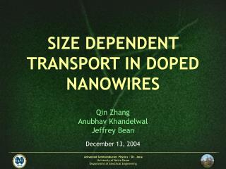 SIZE DEPENDENT TRANSPORT IN DOPED NANOWIRES