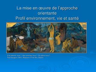 La mise en œuvre de l'approche orientante Profil environnement, vie et santé