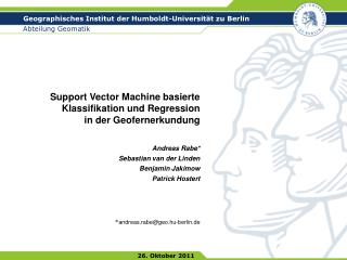 Support Vector Machine basierte Klassifikation und Regression  in der Geofernerkundung