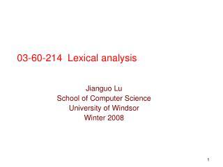 03-60-214  Lexical analysis