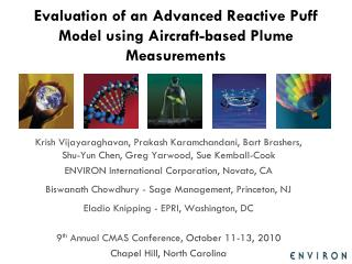Evaluation of an Advanced Reactive Puff Model using Aircraft-based Plume Measurements