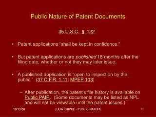 Public Nature of Patent Documents