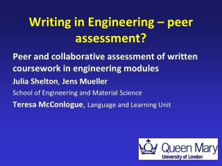 Writing in Engineering � peer assessment?