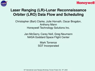 Laser Ranging (LR)-Lunar Reconnaissance Orbiter (LRO) Data Flow and Scheduling