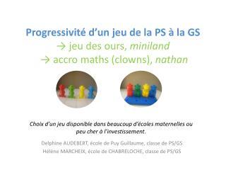 Progressivité d'un jeu de la PS à la GS → jeu des ours, miniland  → accro maths (clowns),  nathan