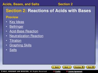 Section 2:  Reactions of Acids with Bases