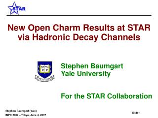 New Open Charm Results at STAR via Hadronic Decay Channels