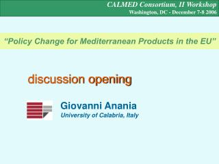 """""""Policy Change for Mediterranean Products in the EU"""""""