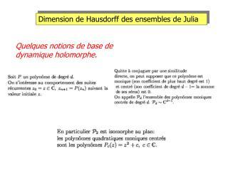 Dimension de Hausdorff des ensembles de Julia