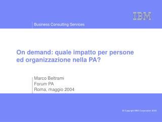 On demand: quale impatto per persone ed organizzazione nella PA?