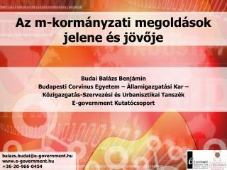 Az m-kormányzati megoldások  jelene és jövője