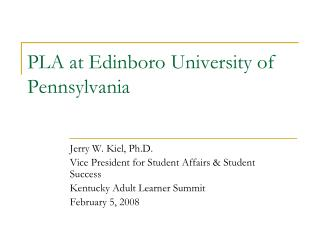 PLA at Edinboro University of Pennsylvania