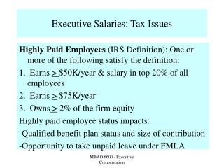 Executive Salaries: Tax Issues