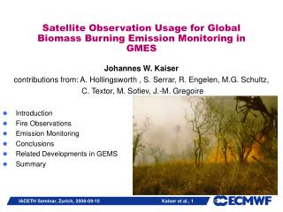 Satellite Observation Usage for Global Biomass Burning Emission Monitoring in GMES