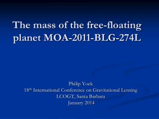 The mass of the free-floating planet MOA-2011-BLG-274L
