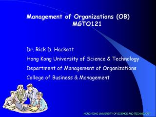 Management of Organizations (OB)        MGTO121