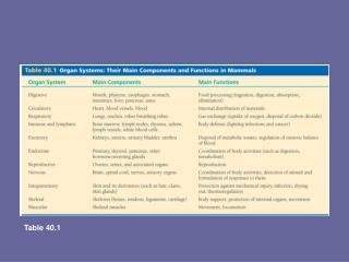 Organ systems in mammals