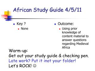 African Study Guide 4/5/11