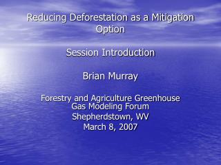 Reducing Deforestation as a Mitigation Option Session Introduction Brian Murray