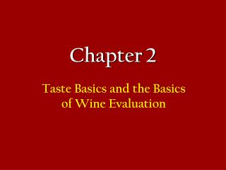 Taste Basics and the Basics of Wine Evaluation