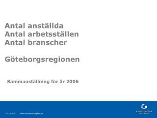 Antal anställda  Antal arbetsställen  Antal branscher  Göteborgsregionen