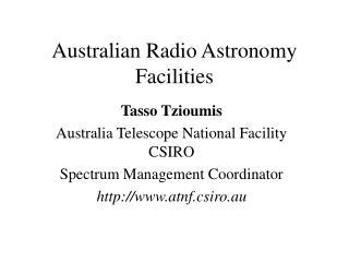 Australian Radio Astronomy Facilities