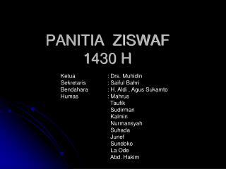 PANITIA  ZISWAF 1430 H